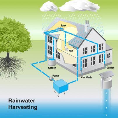 model of rainwater harvesting, animated
