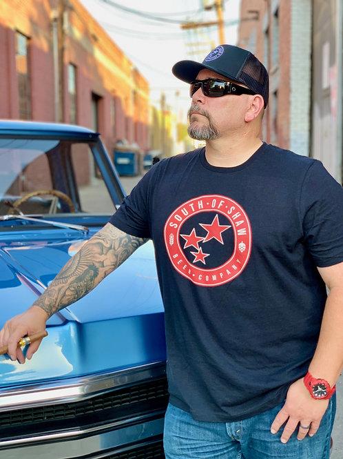 Red & White Logo Mens Black T-Shirt