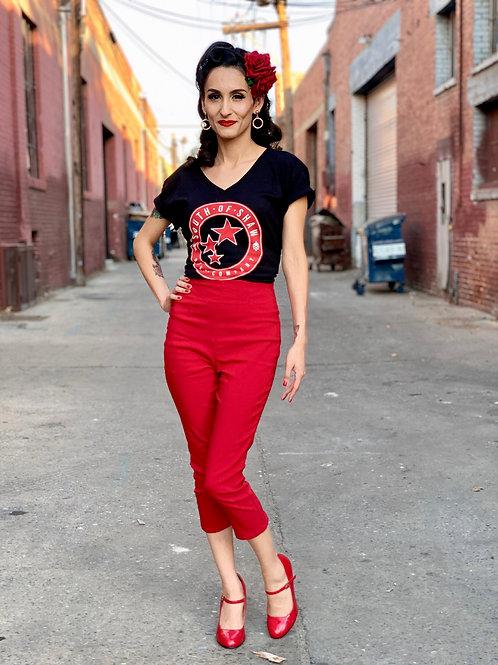 Red & White Logo Womens Black V-Neck