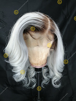 Full Lace Human Hair Wig Body Wave rooted Grey Silver
