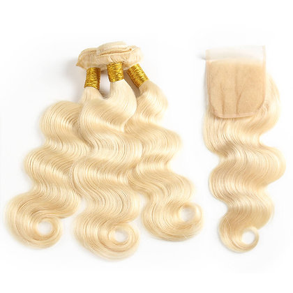 613 Blonde Body Wave Lace Closure Bundle Deals