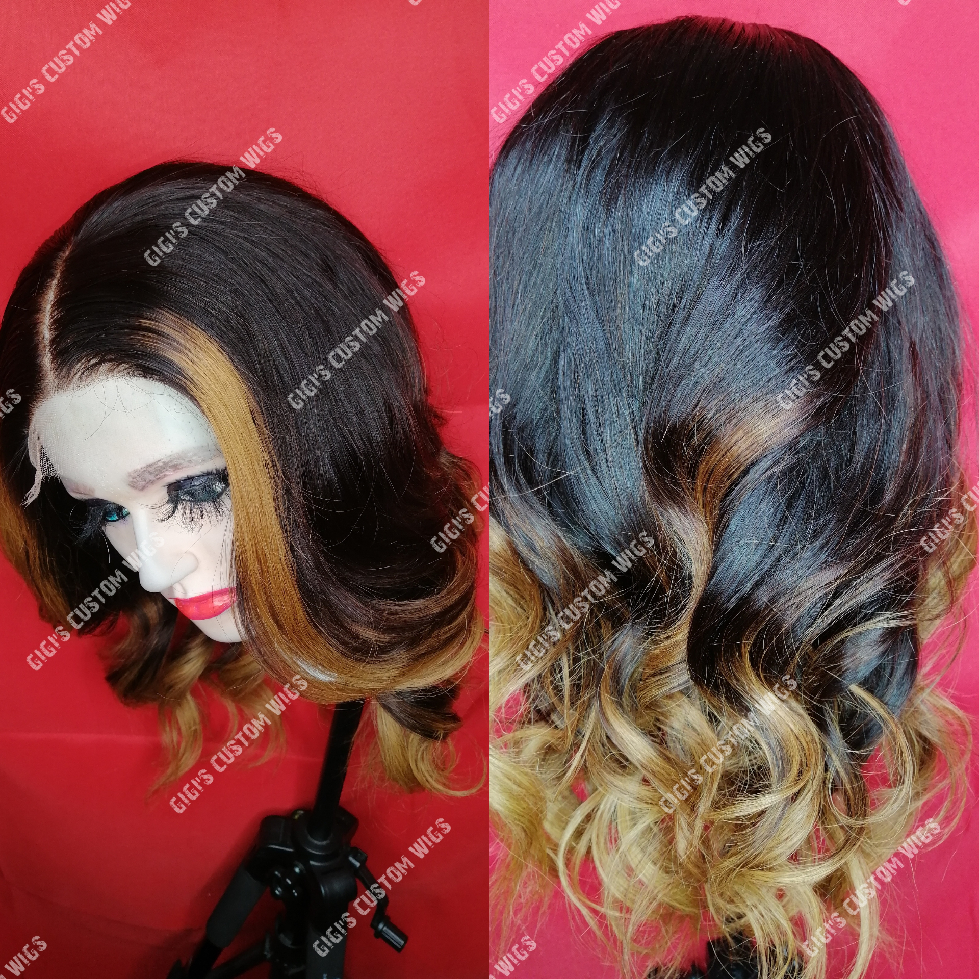 HD 4x4 Lace closure wig Blonde highlights with blonde ombre wig