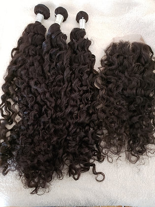Loose Curl Lace Closure Bundle Deal