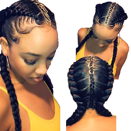 Full Lace Dutch braided wig with hair jewelry