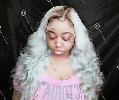 13x6 Lace Frontal Rooted Silver Grey Custom Body wave wig