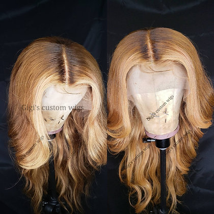 Honey blonde strip in front & honey brown in the back custom wig