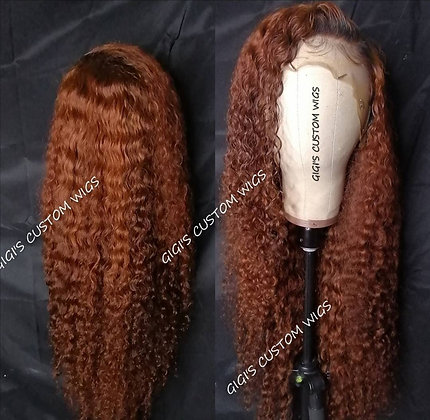 Dark Ginger curly 13x4 Lace Frontal custom made wig ,