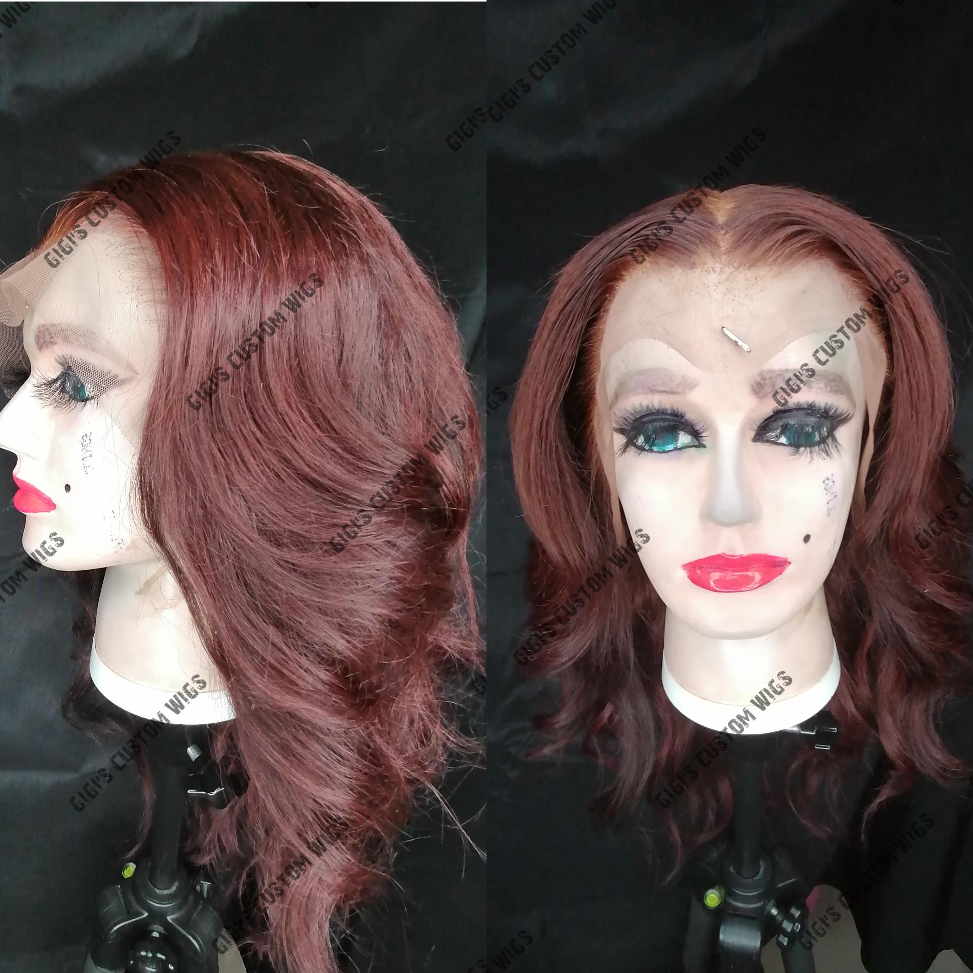 99J hair color Body wave Custom hand sewn wig