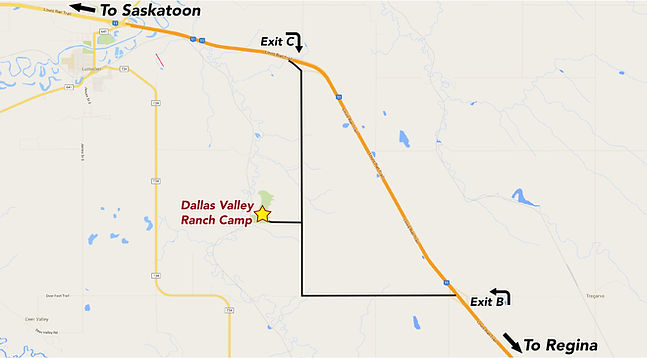 Directions to Dallas Valley from Regina and Saskatoon.