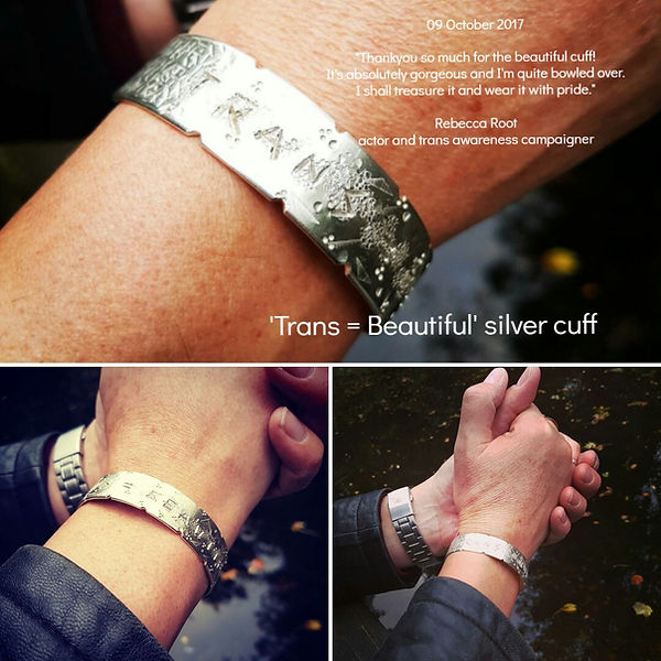 Joseph Monk, silverskin jewellery - 'Trans=Beautiful' cuff for activist, campaigner and actor Rebecca Root