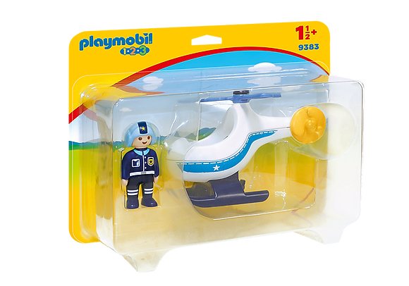 Playmobil 9383 1.2.3 Police Helicopter with Moveable Rotor Blade