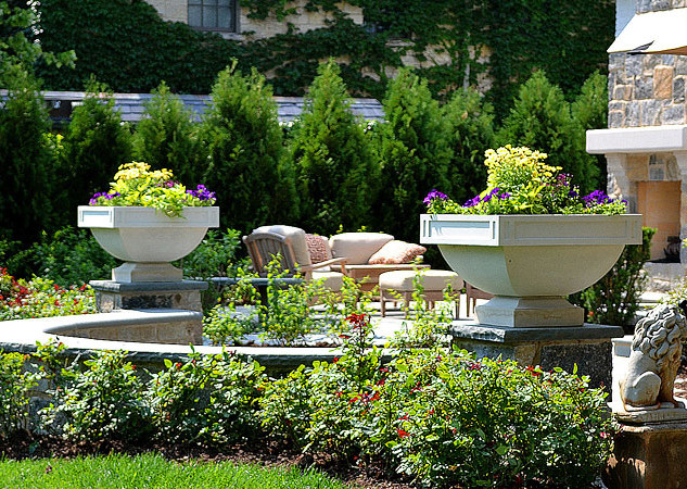 Dry-Cast Limestone Planters with Annuals