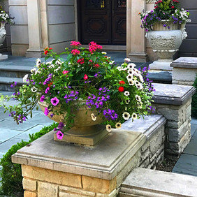 Summer Annuals in Dry-Cast Limestone Pots by Longshadow