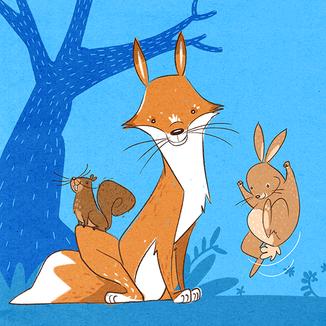 squirrel, fox and rabbit