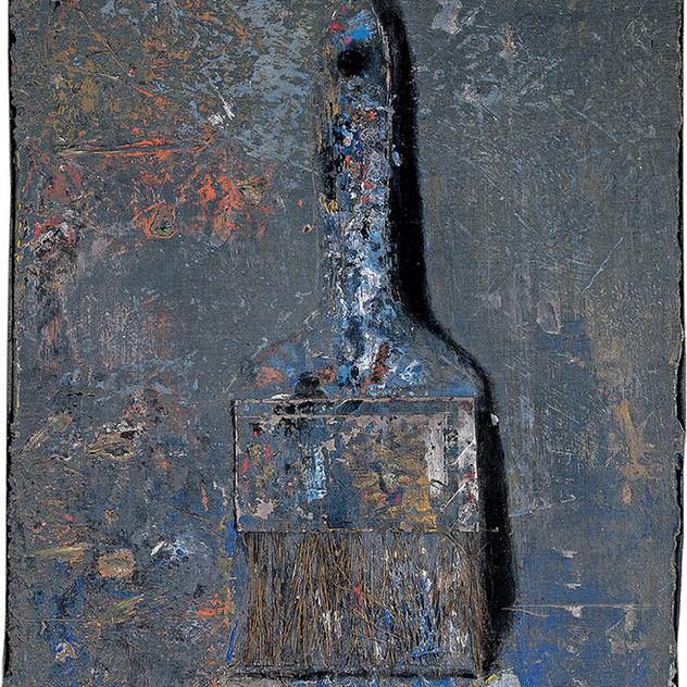 Blue and white paintbrush