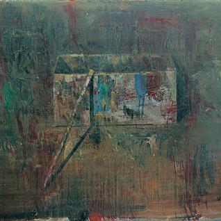 Box with thin paintbrush