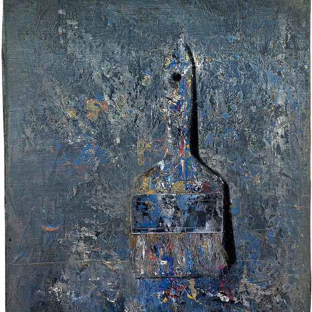 Blue and grey paintbrush