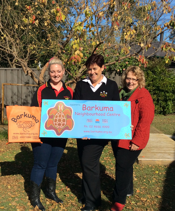 Tshinta Sommerville from Barkuma presenting resources to Patty Sams, Manager and Jenelle Ycas Assistant Manager from Five Star Family Day Care Maitland.