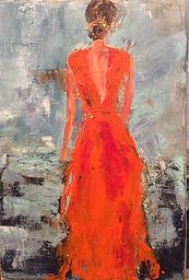 Robe orange . 45x38cms . Acrylique sur t