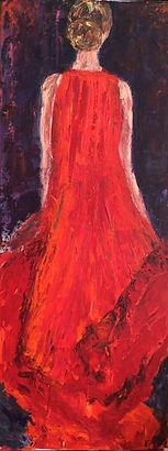 Robe rouge .100x40 cms .Techniques mixte