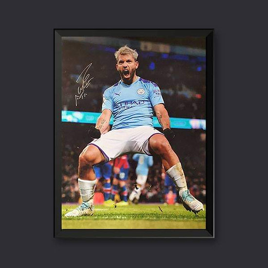 Sergio Aguero Signed Manchester City 16 x 12 Picture