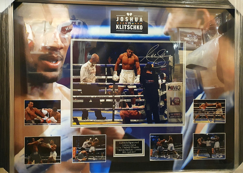 Anthony Joshua Signed Boxing Montage.