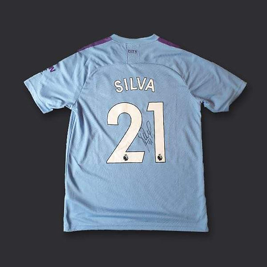 David Silva Manchester City Signed Shirt