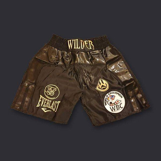 Deontay Wilder Signed Black Fight Replica Boxing Shorts