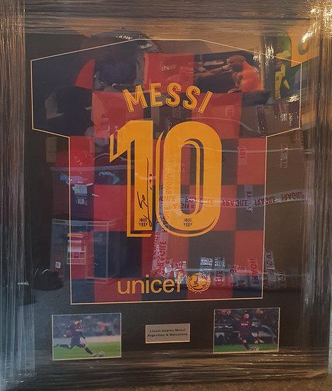 Lionel Messi Barcelona 19/ 20 Signed Shirt Framed (Bronze style frame)