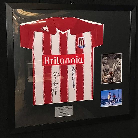Tommy Hearns & Roberto Dyran Signed Stoke City Shirt Framed