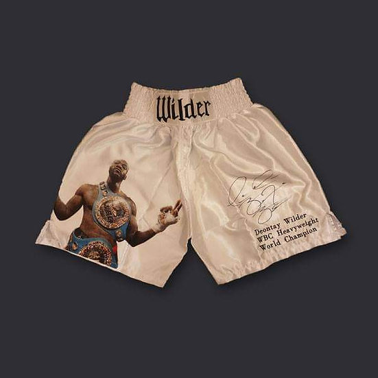Deontay Wilder Signed White Fight Replica Boxing Shorts