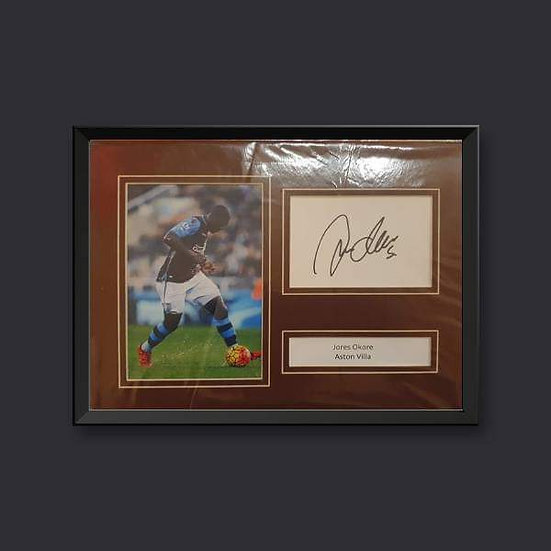 Jores Okore, 10 x 8 Aston Villa Signed Picture Mounted