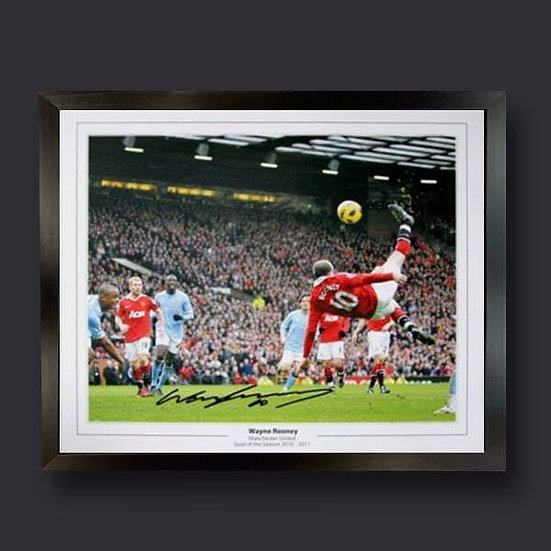 Framed Wayne Rooney Signed Manchester United Goal of the Season Picture.