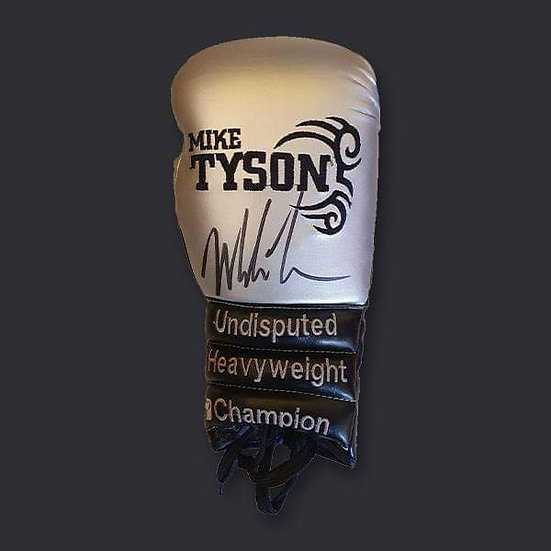 Mike Tyson Tattoo Signed Silver Boxing Glove