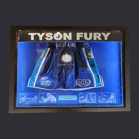 Illuminapp Tyson Fury Signed Boxing Shorts Framed