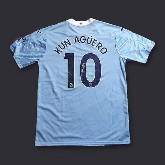 Sergio Aguero Signed Manchester City 20/21 Shirt