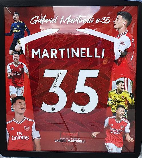 Gabriel Martinelli Signed Arsenal 20/21 Shirt Framed