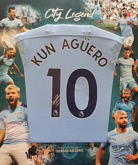 Framed Sergio Aguero Signed Manchester City 20/21 Shirt