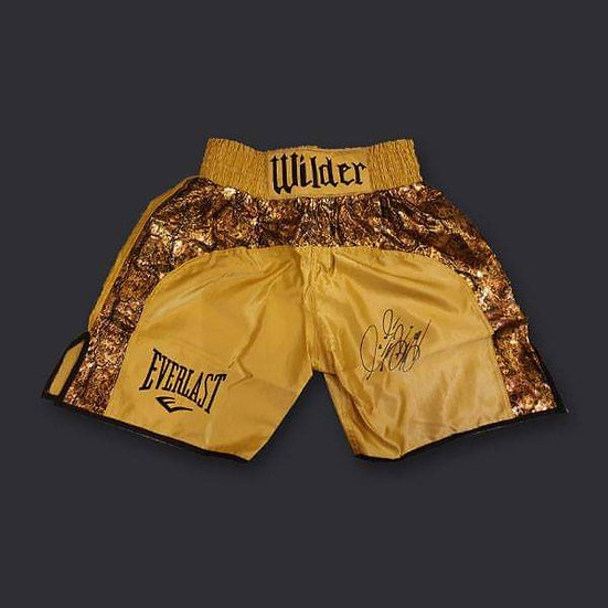 Deontay Wilder Signed Gold Fight Replica Boxing Shorts