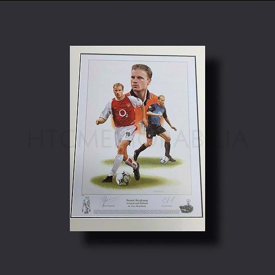 Dennis Bergkamp Signed Arsenal & Holland Artwork Print, Ltd Edition Framed