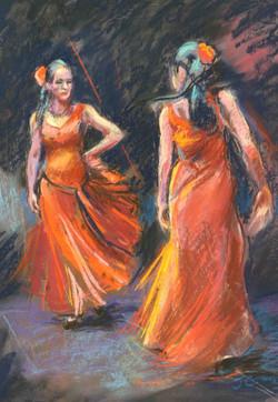 Spanish Dancers - Pastel