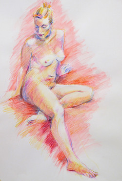 Nude in Red  - Watercolour pencil