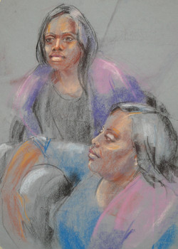 Mother and Daughter - Pastel