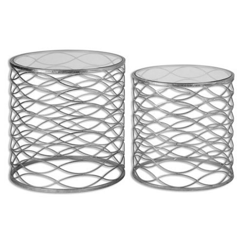 Set of 2 Accent Tables - Silver