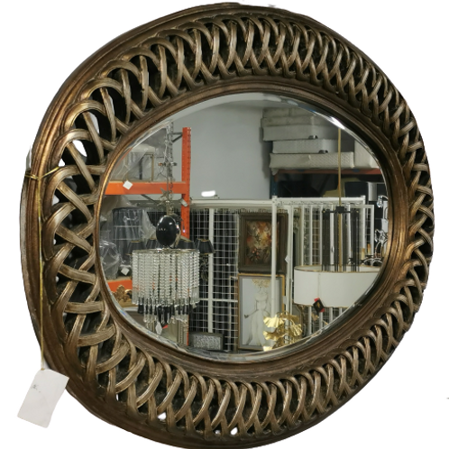 Large Woven Metal Mirror