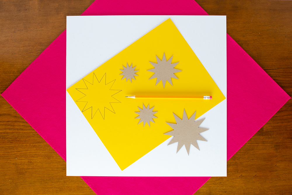Paper Art Chrysanthemums step 1 with yellow paper, flower template, pencil