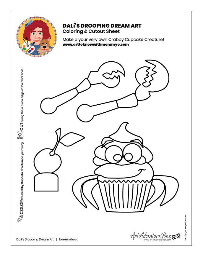 Surreal Creature Craft coloring and cutout sheet of cupcake in crab shape with claw parts
