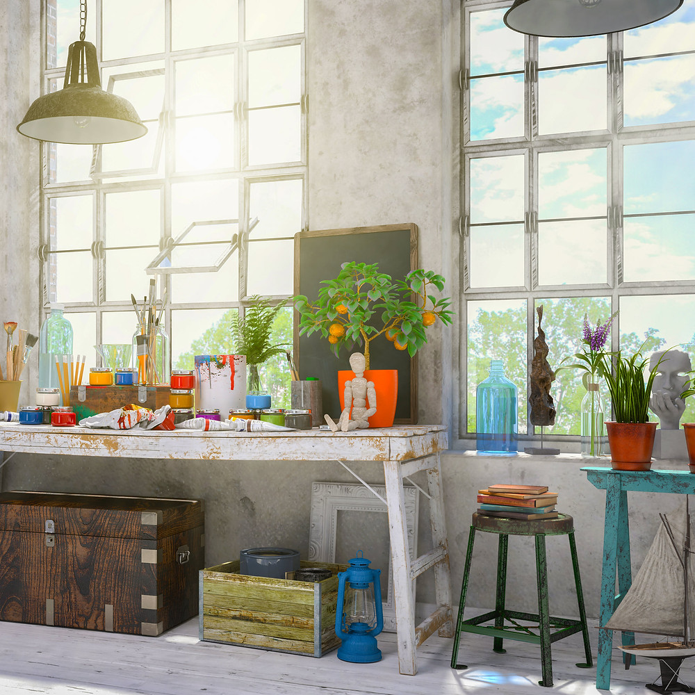 Bright, inspiring studio space with art supplies to connect with your inner artist.