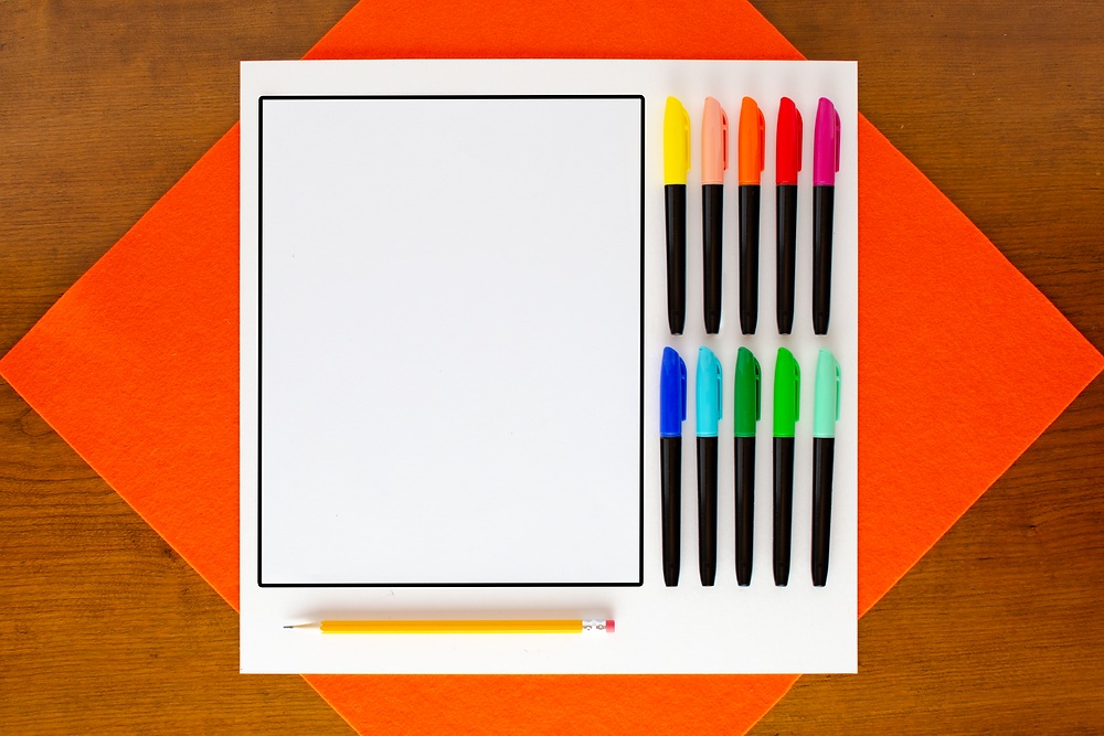 materials to create Pointillist Marker Art Craft including 10 brightly colored markers, a pencil, and a sheet of paper