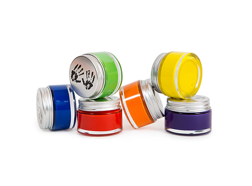 Earth-friendly, premium acrylic paint in glass pots with aluminum lids keeps fresh longer & thick body ensures great coverage